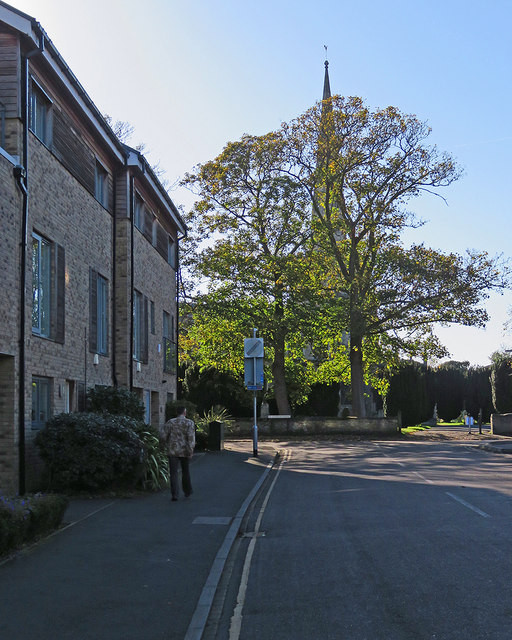 Chesterton: spire, leaves and autumn sunlight