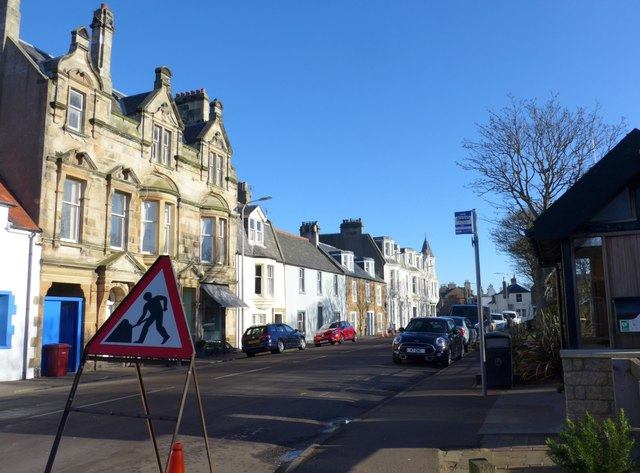 Bus stop on the High Street, Elie