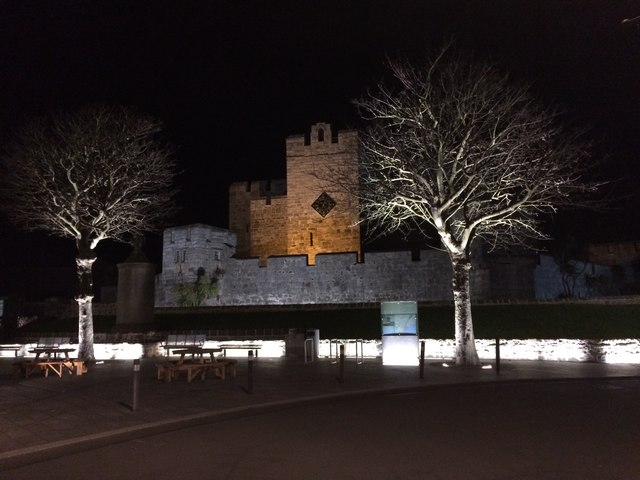 Castle Rushen and the square in floodlight