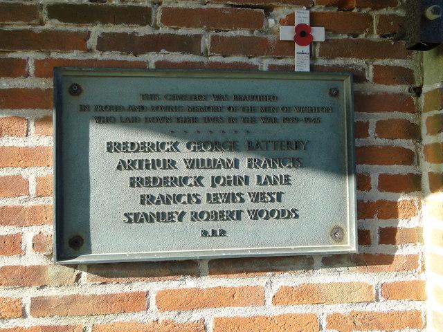 WW2 memorial plaque at Wighton cemetery