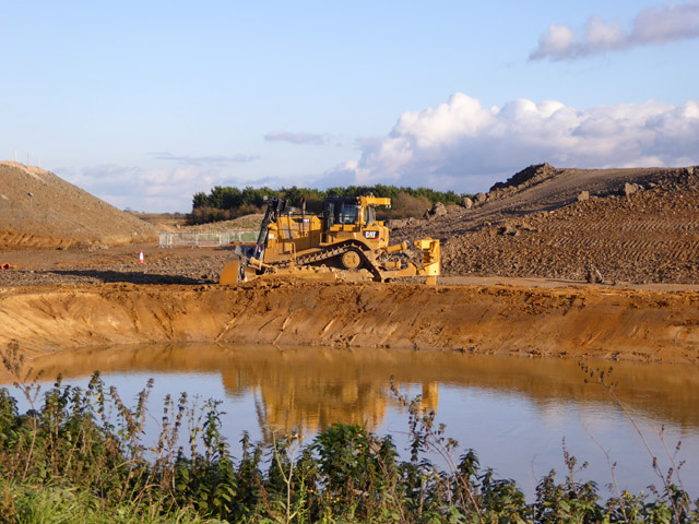 Bulldozer at earthworks for new road