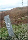 SD9617 : Benchmark on stone alongside the A58, Blackstone Edge by Humphrey Bolton