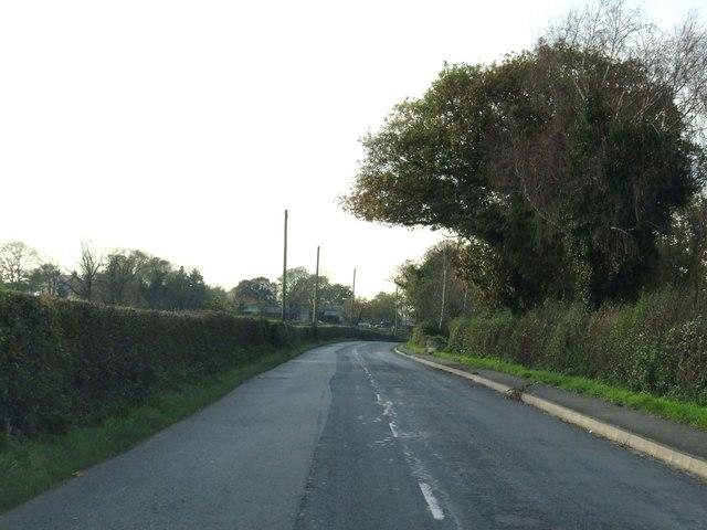 Newsham Hall Lane heading to Woodplumpton