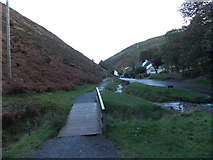 SO4494 : Wooden footbridge over a stream, Carding Mill Valley, Church Stretton by Jaggery