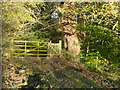 SE0737 : Gate on the public footpath that passes the Goit Stock Chimney, Harden by Humphrey Bolton