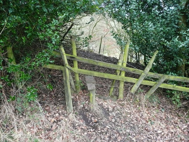 Stile on Halifax FP401 on the south-east side of a wide hedge