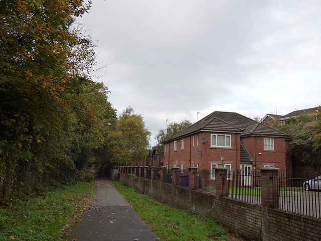 Houses by the railway path, West Derby