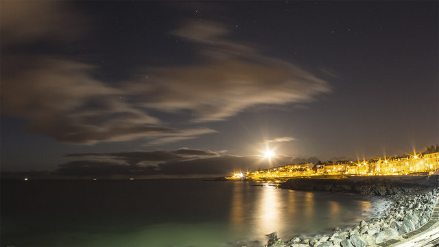 Rising moon over Bangor