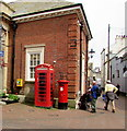 SY1287 : Red phonebox and red pillarbox, Market Place, Sidmouth by Jaggery