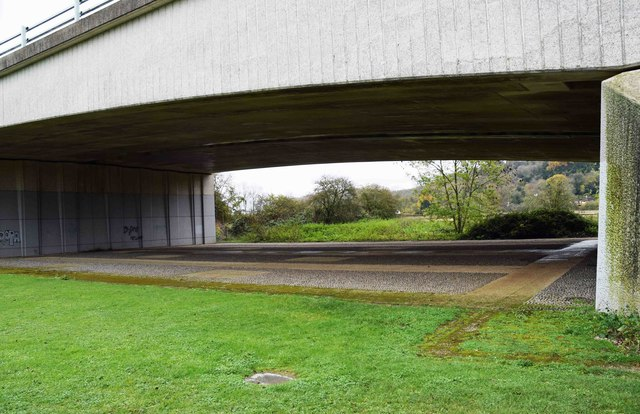 Underneath an arch of Marlow Bypass bridge, Marlow, Bucks