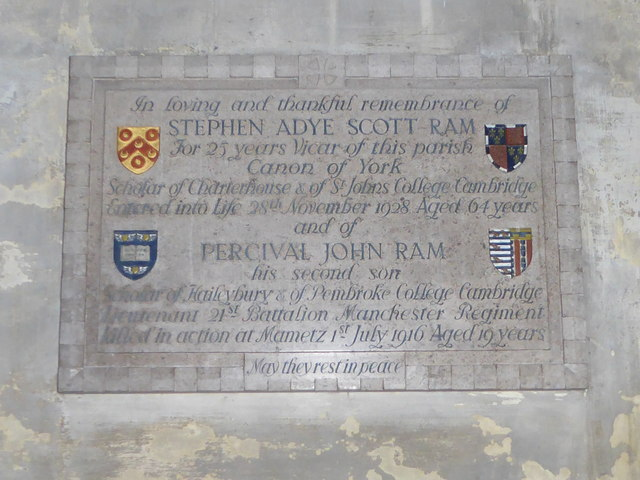 St Mary Lowgate: memorial (d)