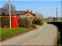 SO4430 : Grade II listed red phonebox, Kilpeck, Herefordshire by Jaggery