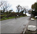 SO3919 : Sunday cyclists in Cross Ash, Monmouthshire by Jaggery