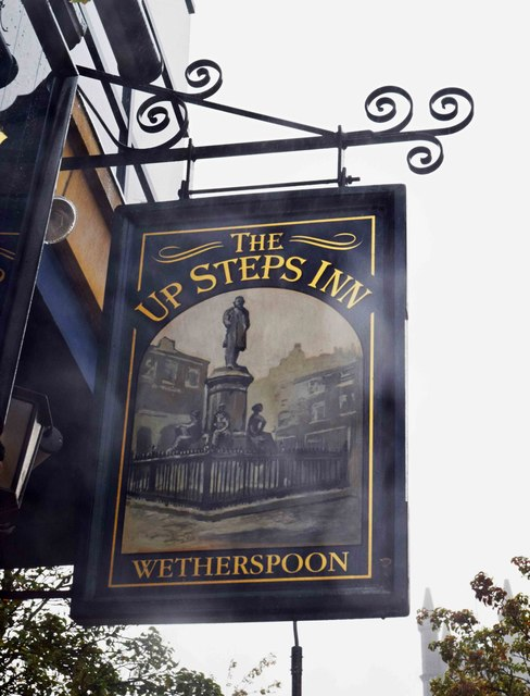 The Up Steps Inn (2) - sign, 17-23 High Street, Oldham