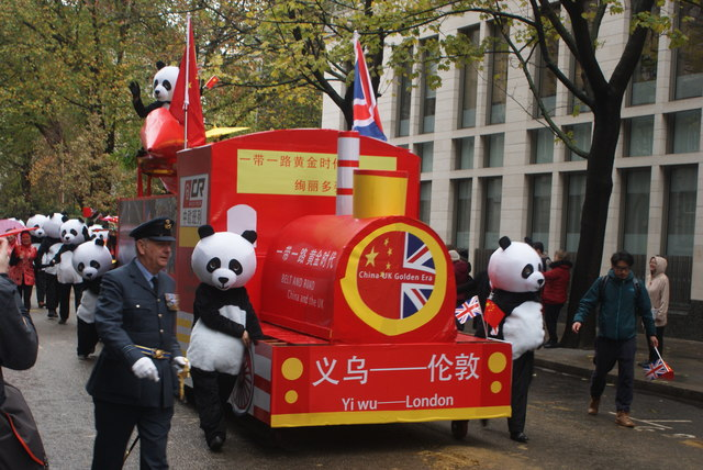 View of the Belt and Road China and the U.K. train in the Lord Mayor's Parade on Gresham Street