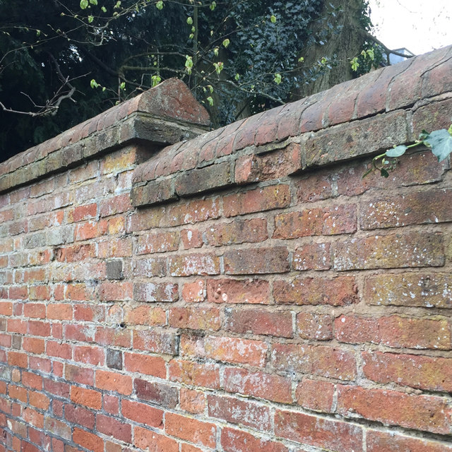 Clay coping to a brick wall, Temple Balsall