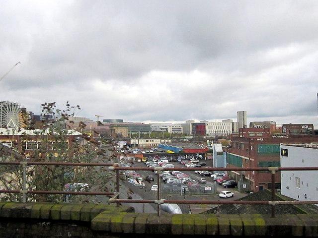 Birmingham Inner Cityscape Approaching Moor Street Station