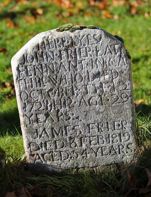 An old gravestone at Melrose Abbey