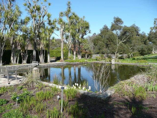 The Formal Pond in the walled garden, Logan Botanic Garden