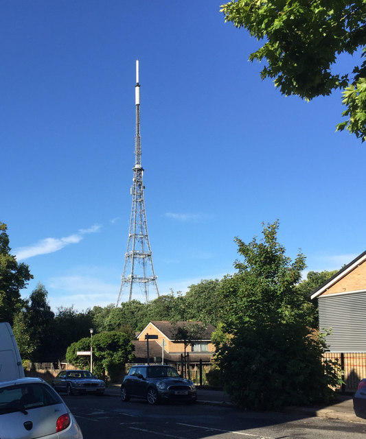 Crystal Palace TV transmitter on a summer evening