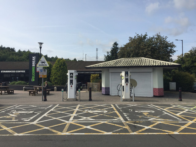 Electric vehicle charging points, Michaelwood services, M5 southbound
