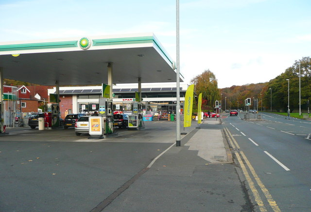 BP filling station and Spar shop, Roundhay Road, Leeds
