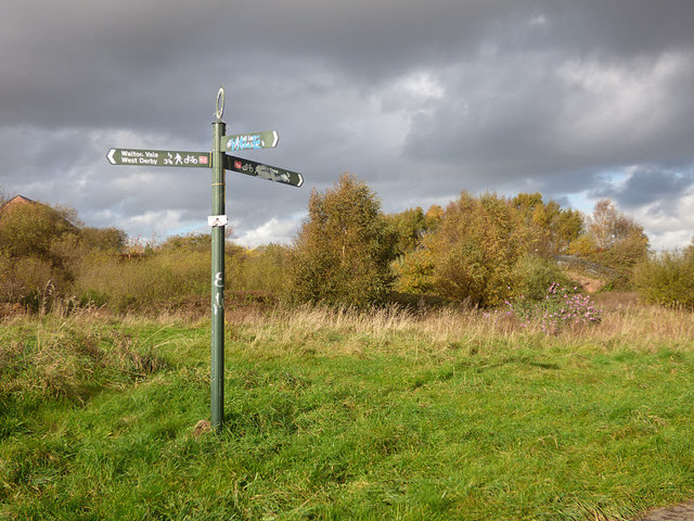 Signpost on NCN62, Aintree