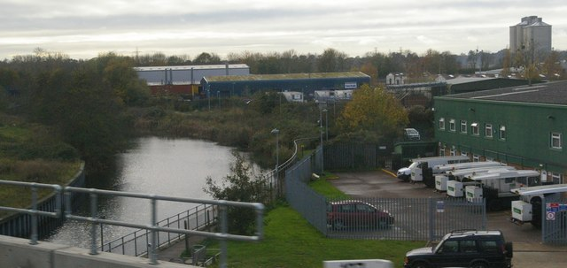 Industrial estates and the River Gipping, from the railway