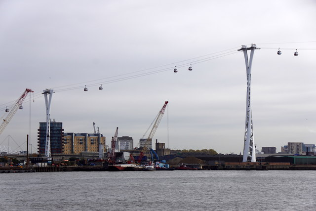 The Emirates Air Line cable car crossing the Thames to Docklands