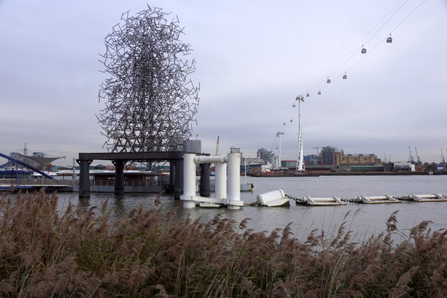Art, pier and cable car, North Greenwich