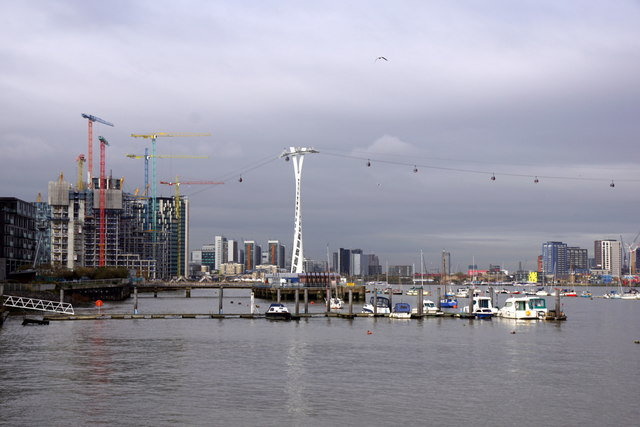 Boats on the Thames at North Greenwich