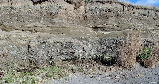 Deposit horizons in the cliff face east of Templetown Beach