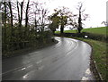 SO4019 : Bend in the B4521, Cross Ash, Monmouthshire by Jaggery