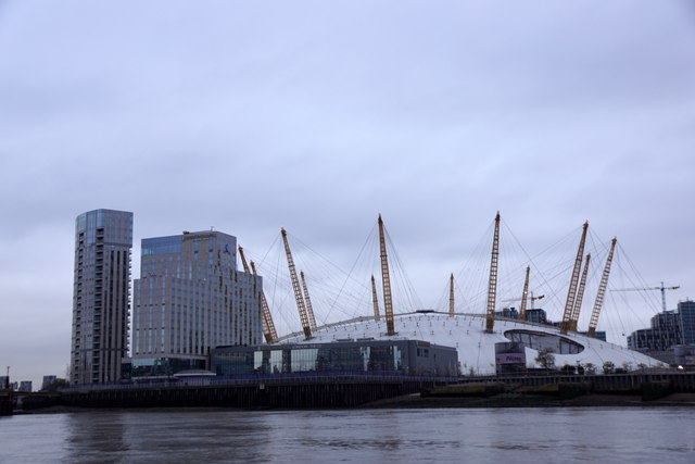 O2 Arena, Greenwich, from the river
