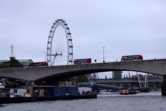 London buses on Waterloo Bridge, London