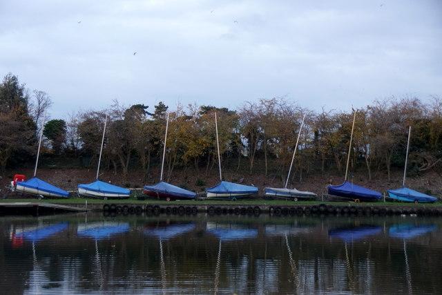 Sailing boats beside Sunnyside Reservoir, Sunbury