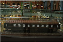 TQ3083 : View of a railway carriage made of Belgian chocolate in St. Pancras Station by Robert Lamb