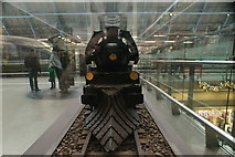 TQ3083 : View of a steam engine made of Belgian chocolate in St. Pancras Station #2 by Robert Lamb