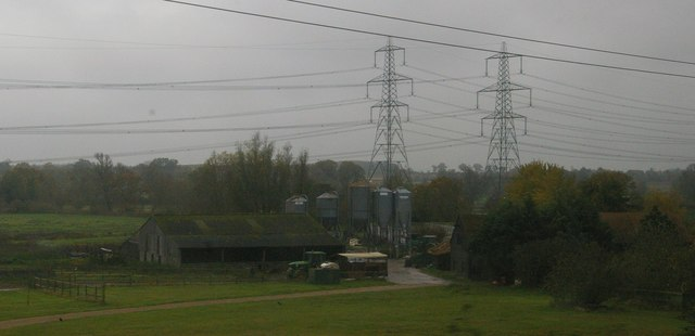 Burnt House Farm from the railway, on a drizzly morning