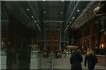 TQ3083 : View of St. Pancras Station reflected in the glass panels of the Eurostar terminal #2 by Robert Lamb