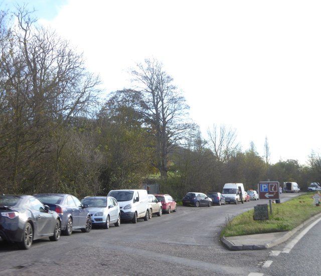 Lay-by on Puriton Hill, the A39 passing Knowle Park