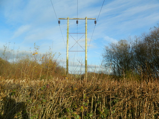 Power line with posts. going towards Pantyddrainan