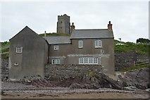 SX5148 : Church seen from beach, Wembury by N Chadwick