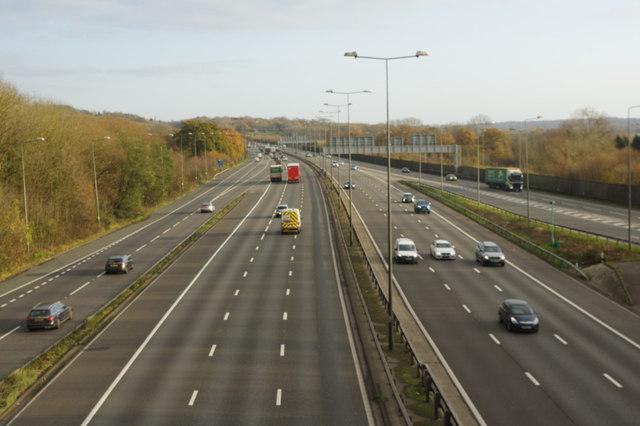 M25 east of Merstham Interchange