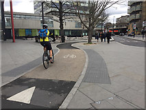 TQ3179 : Cyclist negotiating the remodelled Elephant and Castle junction, south London by Robin Stott