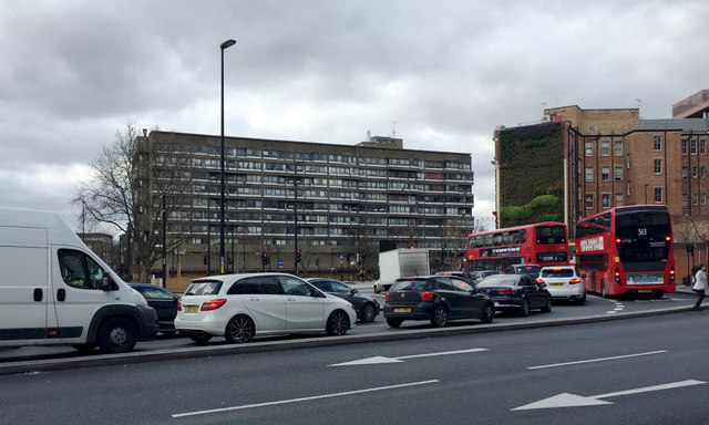 Traffic queueing at the lights, Elephant and Castle remodelled, south London