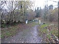 SO5003 : Barrier on a track near Cleddon Bog by Philip Halling