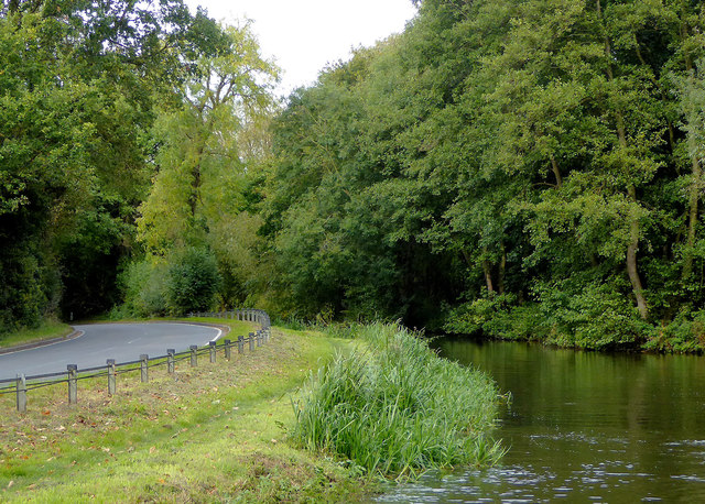 Canal and road south of Acton Trussell, Staffordshire