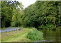 SJ9316 : Canal and road south of Acton Trussell, Staffordshire by Roger  Kidd
