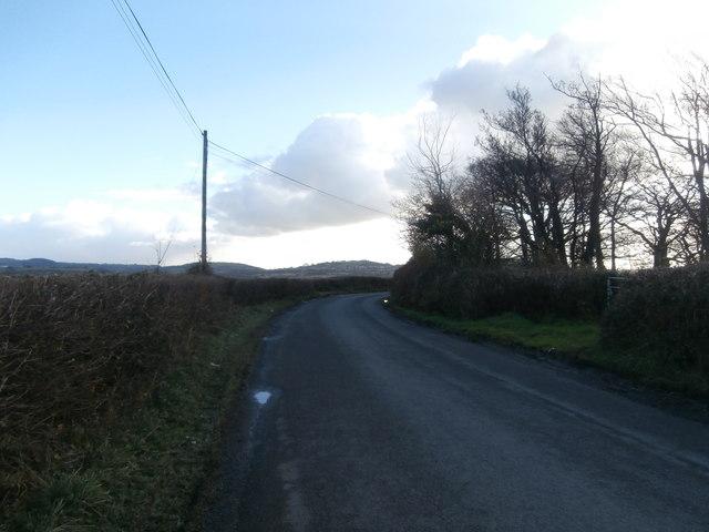 A bend in the road near Rhiwfelin Farm